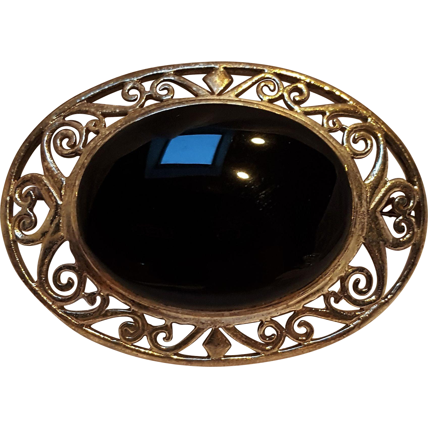 Sterling silver onyx pin openwork frame