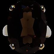 Sterling silver smoky quartz stone ring