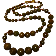 Bakelite Marbled green brown bead necklace hand clasp
