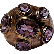 Sterling silver amethyst ring in a Modernist design