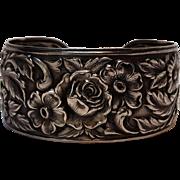 S Kirk & Son sterling silver repousse flower cuff bracelet 19F