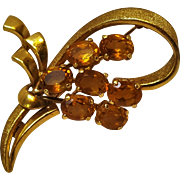 18K gold citrine pin 750