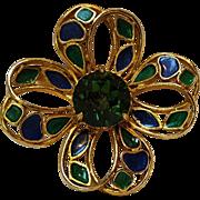 Florenza rhinestone enamel pin green blue