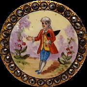Antique painted enamel cut steel button Dandy in the garden