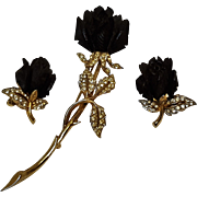 Boucher ebony rose rhinestone pin earrings set