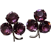 Sterling silver screw back earrings purple glass stones