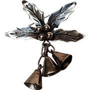 Taxco sterling silver holly berry Christmas bells pin