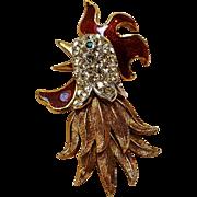 Atwood & Sawyer enamel rhinestone rooster pin