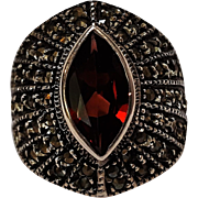 Sterling silver marcasite garnet ring