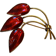 Ivar Holt sterling red enamel leaves pin Norway