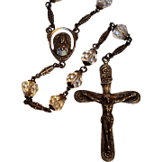 FS Sterling silver pear cut crystal rosary