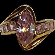 10K gold pink stone ring