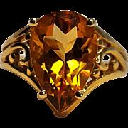 14K Gold pear cut citrine ring
