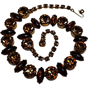 Rhinestone glass cabochon choker necklace topaz brown