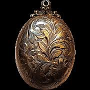 Sterling silver locket engraved floral design 8