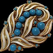 Trifari pin simulated turquoise  stone white enamel