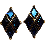 Sterling silver gilt clip earrings sapphire blue glass stones