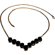 10K gold midnight blue sapphire V necklace