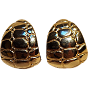 Donald Stannard clip earrings embossed alligator texture