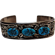 Sterling silver turquoise cuff bracelet Southwest nugget motif