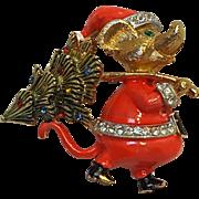 JJ Santa mouse and Christmas tree pin rhinestone enamel