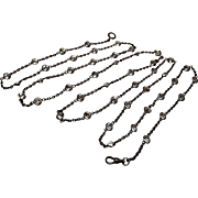 Silver paste muff chain lorgnette collet set stones