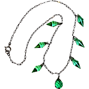 Green crystal drops necklace Czechoslovakia