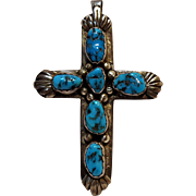 LM Southwest Sterling silver turquoise stone cross pendant