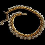 Trifari simulated pearl rhinestone choker necklace leaf design