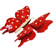 Red and white enamel  polka dot butterfly pin