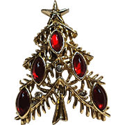Tancer 2 Christmas tree pin red glass cabochon