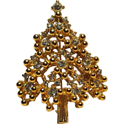 Eisenberg Christmas tree pin rhinestone golden balls
