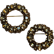 Warner peridot green rhinestone circle wreath  pins