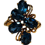 10K gold topaz blue spinel cocktail ring