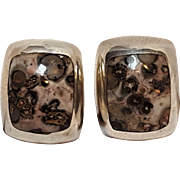 Taxco sterling leopard skin jasper clip earrings