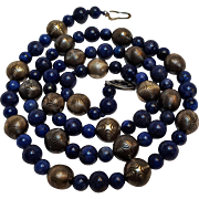 Lapis and silver bead necklace Art Deco