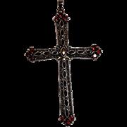Oversized sterling silver marcasite garnet pendant