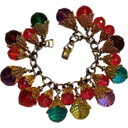 Napier charm bracelet 1950's faceted jewel tone hard resin