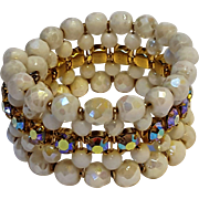 Aurora borealis rhinestone faceted milk glass bead bracelet 5 rows