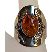 Carol FelleySouthwest  sterling silver amber ring flower feather design