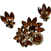 Rhinestone pin clip earrings set topaz brown aurora borealis
