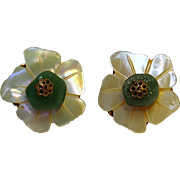 Miriam Haskell flower earrings mother of pearl green stone