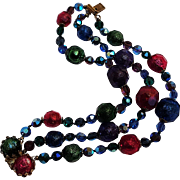 Swarovski nailhead crystal and faceted plastic bead bracelet