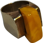Natural butterscotch amber ring hand wrought