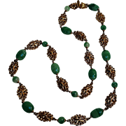 Napier necklace filigree plaques and swirled green glass beads
