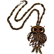 Articulated owl pendant necklace black rhinestone