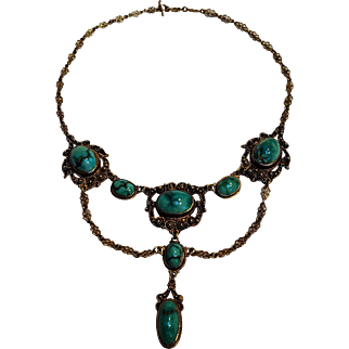 Antique turquoise silver festoon necklace filigree cannetille
