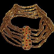 Christian Dior belt glass cabochons wide multi chain gilt brass