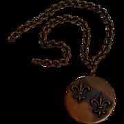 Rebajes copper pendant necklace fleur de lis