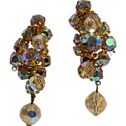Aurora borealis rhinestone crystal drop earrings